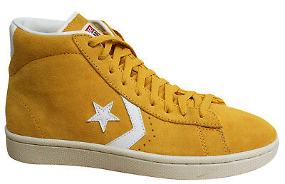 Converse All Star Pro Leather Suede Mid Yellow Mens Trainers 133009C P1