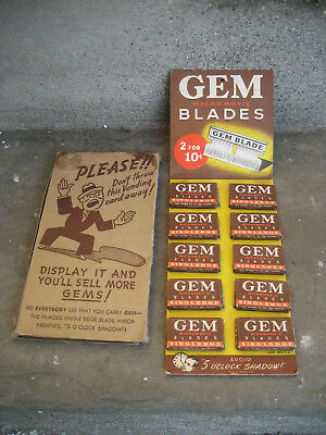 Vintage Gem Razor Blade Display Sign w/ Full Razor Boxes and Original Sleeve