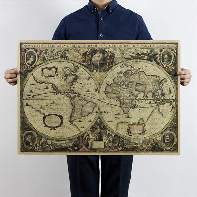 world map nautical ocean map vintage kraft paper poster wall chart stickerCLE