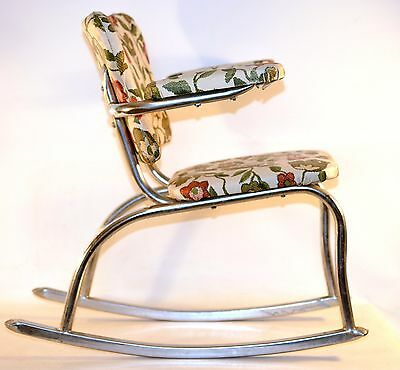 Vintage Mid-Century Chrome Child Rocking Chair Rare