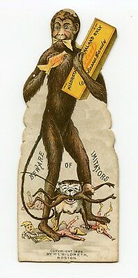 Monkey Man Victorian Die Cut Card 1896 Velvet Molasses Candy With Dog & Elves