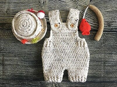 Newborn Fisherman Overalls Hat and Fishing Pole baby boy outfits clothes gift