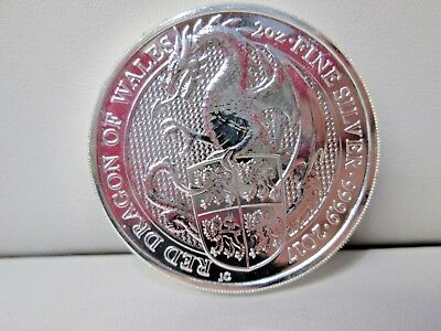 2017 Britain Queens Beast Red Dragon Wales .999 Silver 2 Ounce Coin
