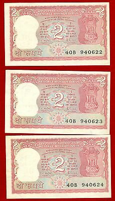 India--Bank Of India 3 Consecutive Two Rupee Notes--Uncirculated
