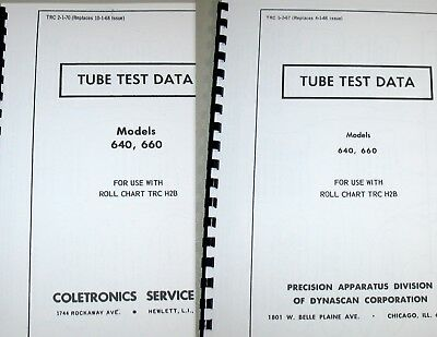 Precision PACO Tube Test Data for 640 / 660 Tube Testers, 1967, 1970, or BOTH