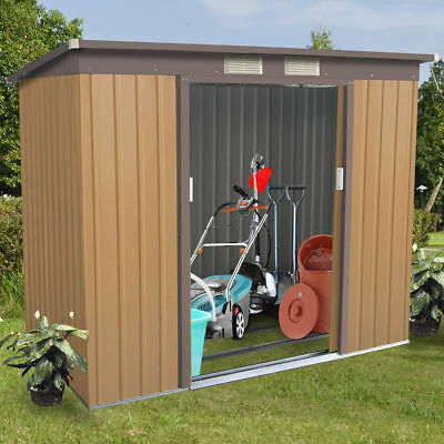 4' X 7' Outdoor Garden Storage Shed Tool House Sliding Door Metal Frame Khaki