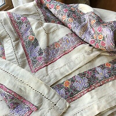 Antique Turkish Table Cover Floral Embroidery Drawnwork Linen Silk Cloth 100x74