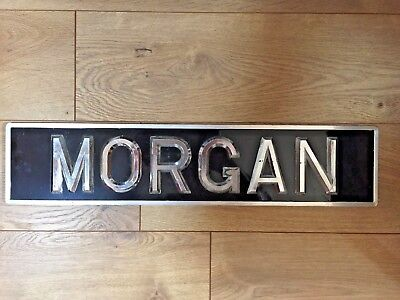 Vintage Morgan Sign Length 20 Inches  Tin  Plaque Sign Silver On Black