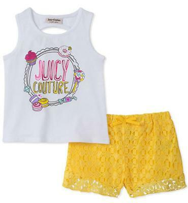 Juicy Couture Big Girls White Tank Top 2pc Short Set Size 7 8/10 12 $75