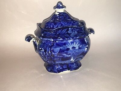 Historical Staffordshire Blue Sugar Bowl Lafayette At Franklins Tomb Ca. 1825