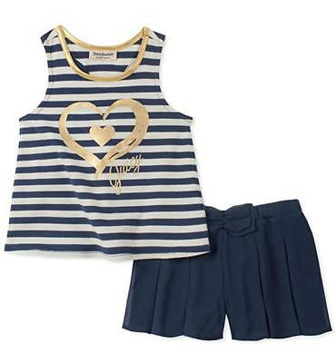 Juicy Couture Big Girls Navy Striped Tank Top 2pc Short Set Size 7 8/10 12 $75