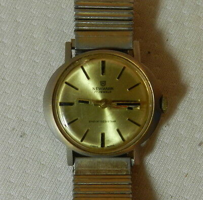 Vintage Mens Newmark 17 Jewels Hand Winding Watch Running Day / Date