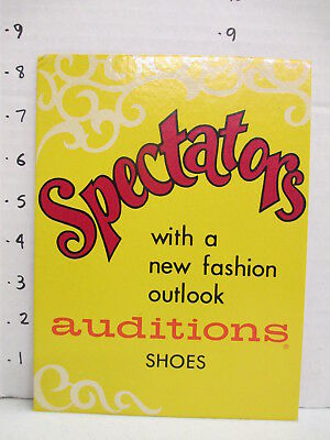 AUDITIONS SPECTATORS SHOES 1960s store display sign vintage women's clothing MOD