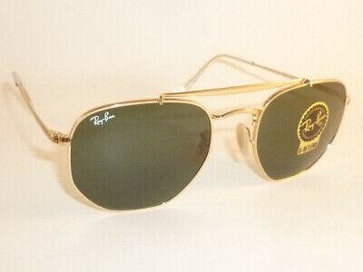 29f37f9a78 New RAY BAN Marshal Sunglasses Gold Frame RB 3648 001 G-15 Green Lenses 51mm