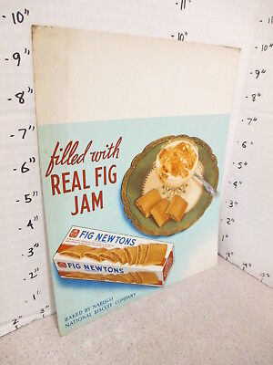 NABISCO 1940s grocery store display sign FIG NEWTON jam filled cookies dessert X