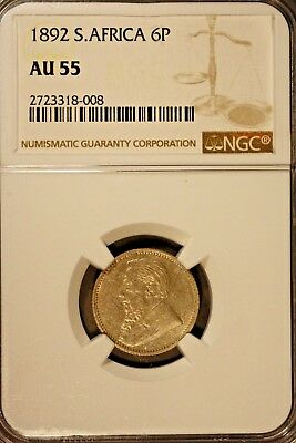 1892 South Africa 6 Pence Silver NGC AU 55    ** FREE U.S. SHIPPING **