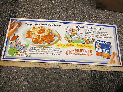 MUFFETS Quaker cereal box trolley store display sign 1940s comic book cartoon #1