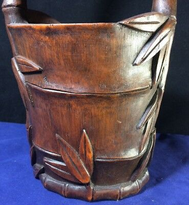 Rare Antique Chinese Asian Deep Carved Wood Rice Bucket Basket Bucket Bamboo