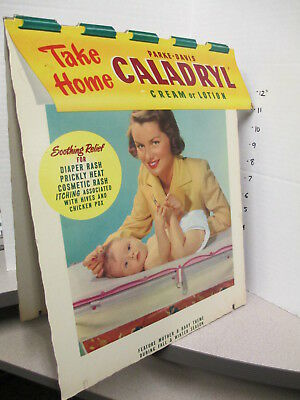 CALADRYL store display counter sign 1950s TENT family baby diaper mother