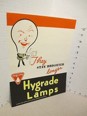 GE General Electric 1940s light bulb store display sign (3) WWII ad character