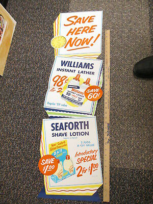McKesson store display sign 1955 WILLIAMS shaving cream SEAFORTH shave lotion