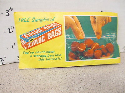 ZIPLOCK storage bags product FREE SAMPLE 1960s DOW Chemical kitchen storage