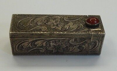 Vintage 800 Silver Floral Lipstick Case With Mirror And Unknown Red Stone