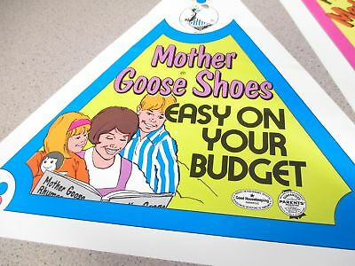 Mother Goose Shoes 1970s store display (3 items) triangular paper signs SET C