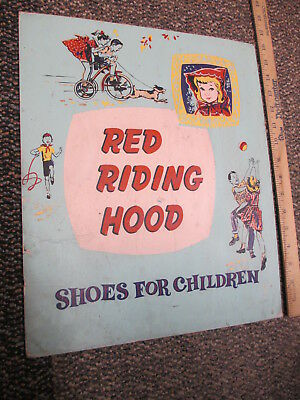 Red Riding Hood children shoes 1950s kid tricycle store display sign fairy tale