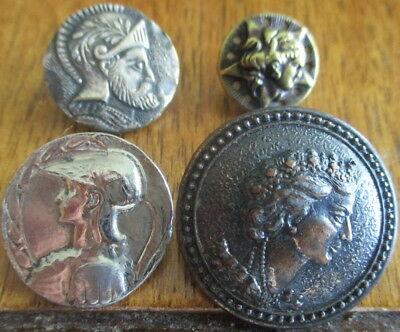 ANTIQUE LOT OF 4 BUTTONS~MYTHOLOGY/KNIGHT~marked *LITZ*~VINTAGE METAL PICTURE
