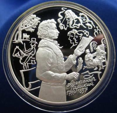 1999 Russia Large Silver Proof 3 Roubles-Alexander Pushkin