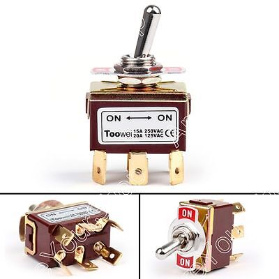 1Pcs Toowei 2 Terminal 6Pin ON-ON 15A 250V Toggle Switch Boot DPDT Grade UE
