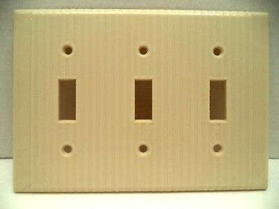 Leviton mcm vintage ribbed lines ivory triple toggle switch plate cover bakelite