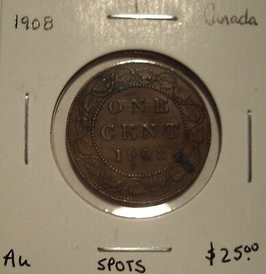 Canada Edward VII 1908 Large Cent - AU