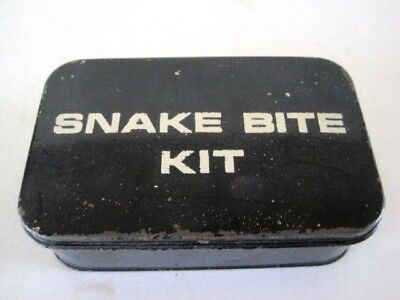 Vintage Snake Bite Kit White Cross in original black Tin