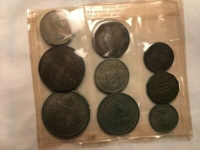 1953 UK Great Britain 9 Coin set Uncirculated.Queen Elizabeth Coronation Year