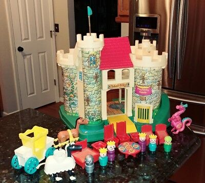 Vintage 1974 Fisher Price Play Family Castle Dragon w Horns 993 Works Complete!