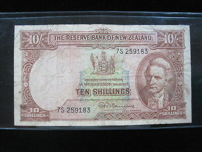 New Zealand 10 Shilling 1940 - 1955 P158 Nz 64# Currency Banknote Paper Money