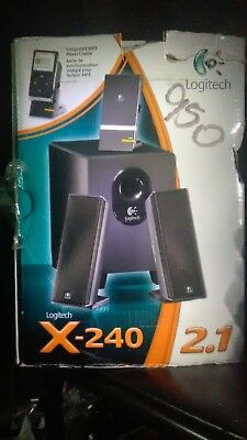 NEW IN BOX: Logitech X-240 2.1 Ch. Computer Speaker System + Subwoofer (Black)