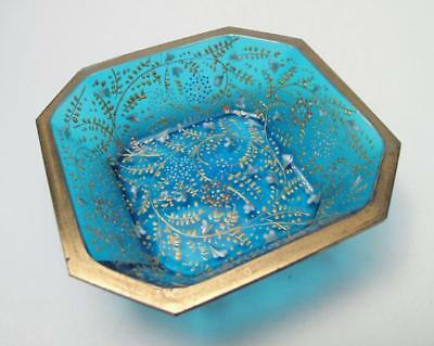 Antique Moser Enamelled And Gilt Gold Hand Painted Turquoise Blue Glass Dish