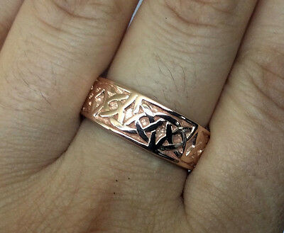 R280-Genuine SOLID 9K 9ct Rose Gold HEAVY WIDE Celtic BAND Ring Wedding size U