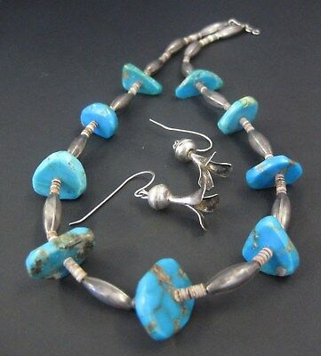 Chunky Old Pawn Navajo .925 & Evans Mine Turquoise Necklace & Earrings