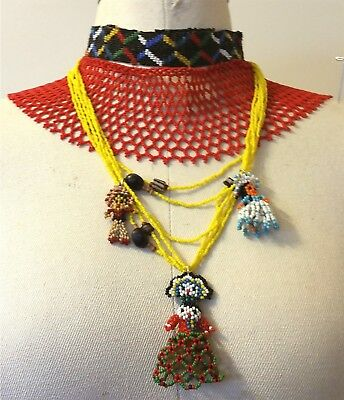 1 Seed Bead Indian Dolls Necklace Powder Glass White Heart Trade Bead Necklace