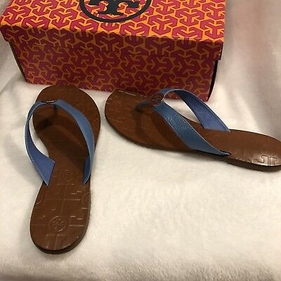 91d08486b82a ... australia tory burch thora thong sandals chambray 9 blue goldtone  tumble leather flip flop 36d68 53ed0