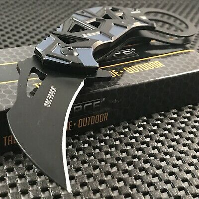 TAC FORCE SPRING ASSISTED TACTICAL GRAY KARAMBIT FOLDING POCKET KNIFE OPEN Claw