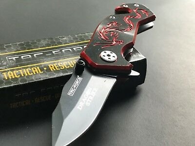 "3.5"" Tac Force Dragon Mini Black Red Out Door Tactical Rescue Folding Knife Open"