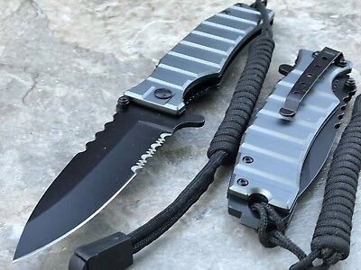 Drop Point Military Tactical Spring Assisted Gray Rescue Folding Pocket Knife