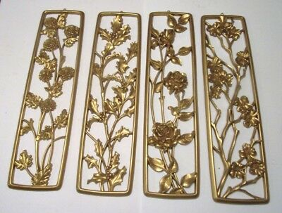 4 Vintage Hollywood Regency Style  Floral Wall Plaque Hanging Lot....usa