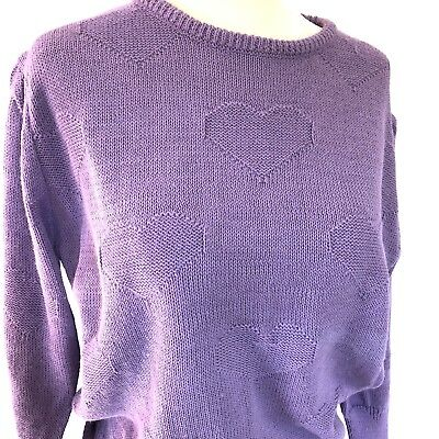 Vintage 80's Purple Heart Knit Sweater Youth L Adult S Queen's Way To Fashion