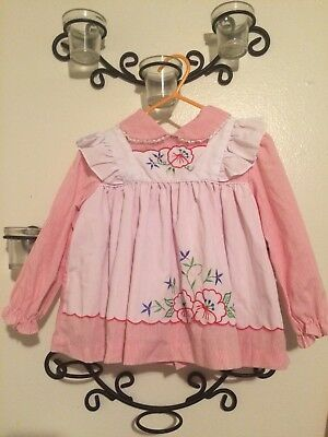 Vintage Cradle Togs Apron Pinafore Style Dress With Floral Detail